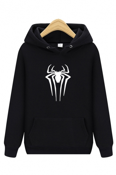 Hot Fashion Spider Printed Long Sleeve Casual Relaxed Hoodie