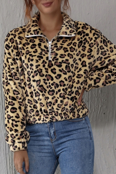 Ladies Fashion Leopard Printed Long Sleeve Stand Collar Zip Up Fuzzy Relaxed Pullover Sweatshirt in Yellow