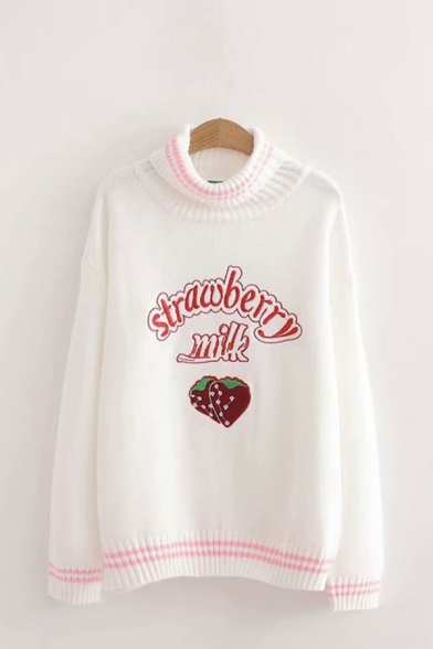 Popular Womens Letter Strawberry Milk Graphic Printed Striped Trim Turtleneck Full Sleeve Relaxed Fit Knit Pullover Sweater Top