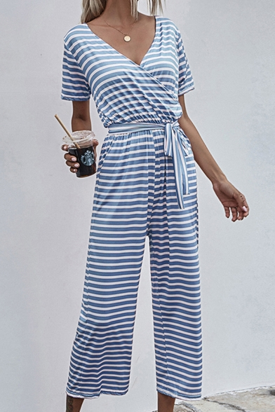 Retro Womens Jumpsuits Horizontal Striped Pattern Bow Short Sleeve Surplice Neck Regular Fitted Jumpsuits