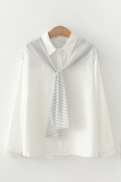Simple Womens Stripe Printed Tied Front Long Sleeve Point Collar Button Up Relaxed Fit Shirt Top