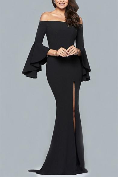Spring Fashion Off the Shoulder Bell Sleeve Plain Split Front Maxi A-line Dress