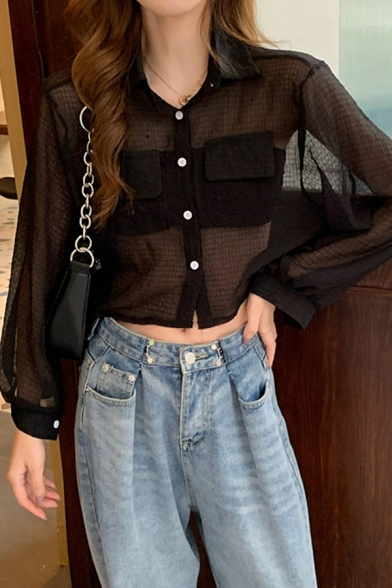 Stylish Solid Color Flap Pocket Single Breasted Turn-down Collar Long Puff Sleeve Relaxed Fit Crop Shirt for Women