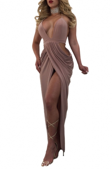 Unique Womens Solid Color Plunging Neck Backless High Cut Hollow out Long Sheath Dress in Khaki