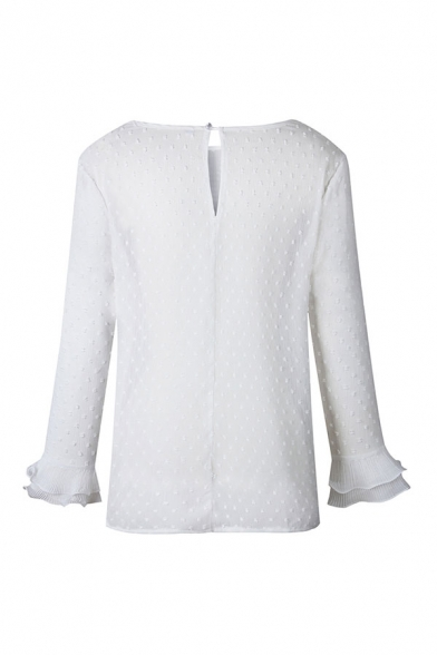 White Pretty Floral Embroidery Cut Out Button Back Ruffle Tiered Patchwork Long Sleeve Round Neck Regular Fit Shirt for Ladies