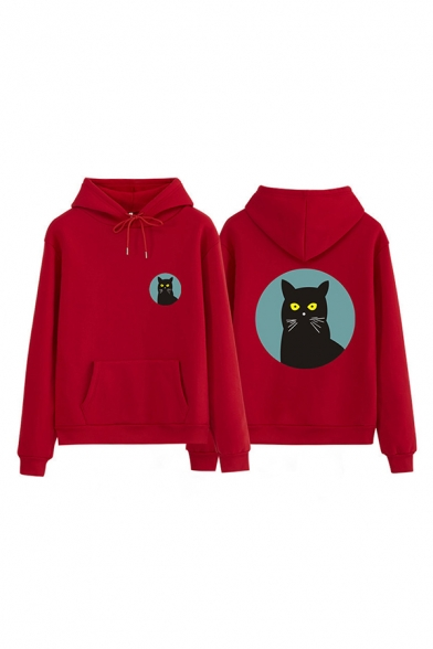 Chic Hooded Sweatshirt Cartoon Cat Circle Pattern Drawstring Pocket Long Sleeve Relax Fitted Hoodie for Men