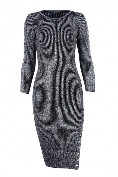 Chic Studded Embellished Split Side Round Neck Long Sleeve Midi Bodycon Sweater Dress for Women