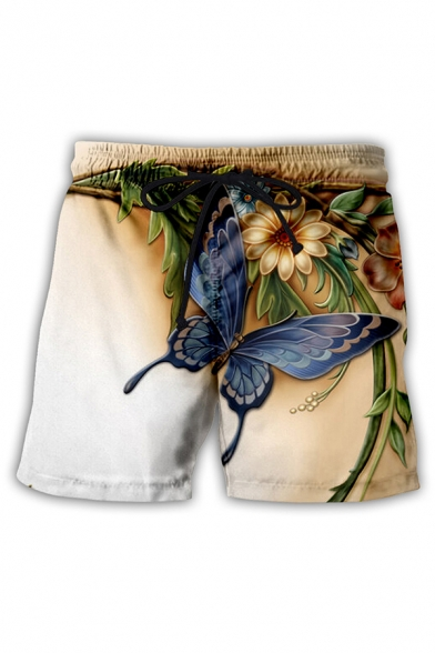 Fashionable Mens Shorts Butterfly Water Floral Leaf Branch 3D Pattern Drawstring Waist Straight Fit over the Knee Length Relaxed Shorts