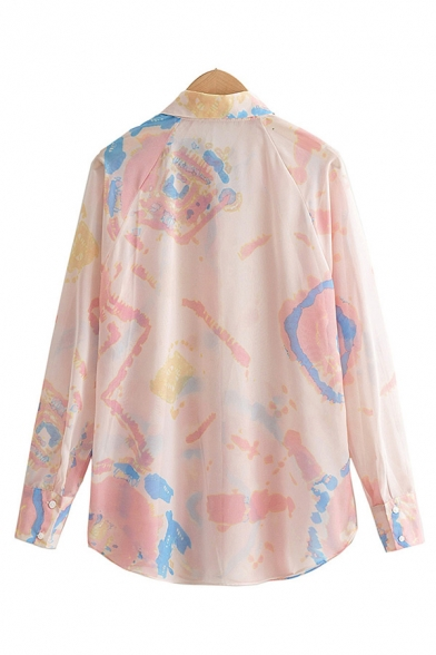 Leisure Womens Tie Dye Printed Curved Hem Long Sleeve Point Collar Button Up Long Loose Shirt Top in Pink