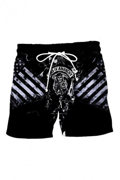 Men's Summer New Fashion Popular Skull Printed Drawstring Waist Black Casual Sweat Shorts
