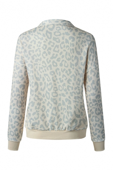 Popular Leopard Printed Long Sleeve Stand Collar Zip Up Relaxed Pullover Sweatshirt for Women