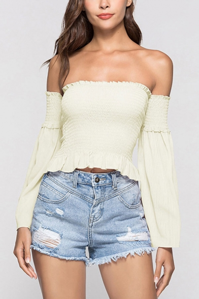 Pretty Womens Plain Ruched Stringy Selvedge Backless Strapless Sleeveless Slim Fitted Crop Peplum Blouse Top