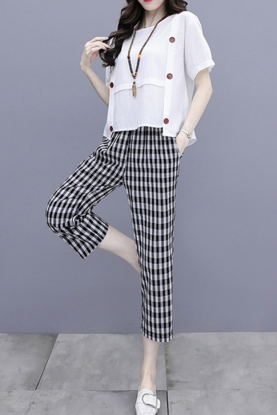 Simple Girls Linen and Cotton Short Sleeve Round Neck Double Breasted Asymmetric Relaxed T Shirt & Checkered Cropped Straight Pants Set