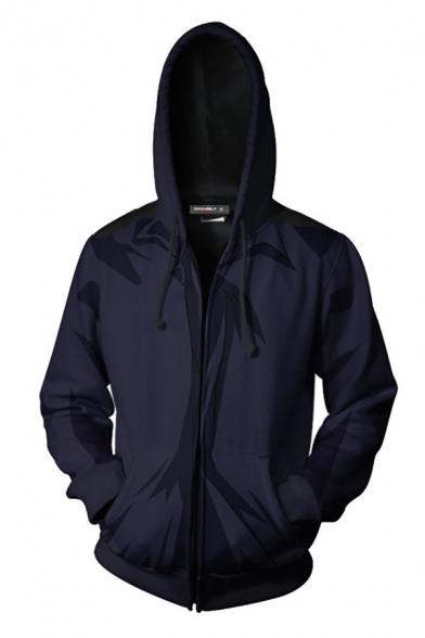 Trendy 3D Digital Print Zipper Up Drawstring Pocket Long Sleeve Regular Fit Hooded Sweatshirt