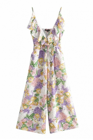 Trendy Womens Jumpsuits Floral Plant Leaf Pattern Strap Ruffle-trimmed Sleeveless Elastic Waist Tie Shirred Wide-leg Jumpsuits