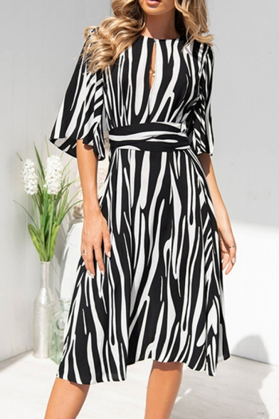 Trendy Womens Stripe Printed Short Sleeve Round Neck Cut out Bow Tied Waist Mid A-line Dress
