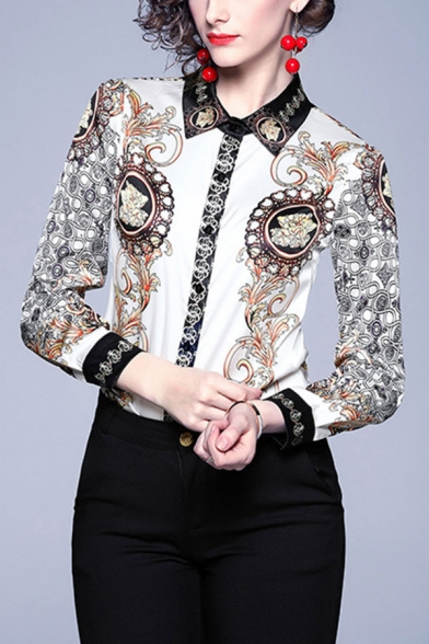Unique Womens Floral Pattern Button Up Spread Collar Full Sleeve Regular Fit Blouse Top