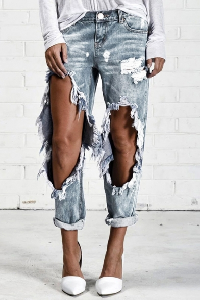 Womens Cool Destroyed Ripped Big Hole Rolled Cuff Casual Boyfriend Jeans