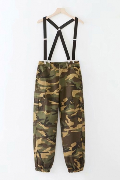 Womens Jumpsuits Creative Camouflage Flap Pockets Suspender Zipper Fly Cuffed 7/8 Length Loose Fit Overalls Pants