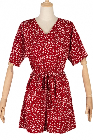Womens Red Rompers Creative All-over Spot Printed Tie-Waist V-Neck Regular Fitted Short Sleeve Rompers