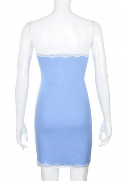 Womens Sexy Lace Panel Straps Sleeveless Blue Mini A-Line Slip Dress