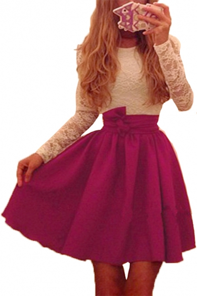 Color Block Lace Patched Round Neck Long Sleeve Mini A-Line Dress