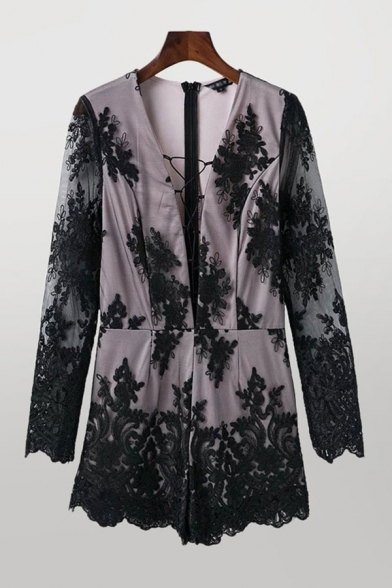 Cool Womens Rompers Lace Patchwork Lace-up Invisible Zipper Back Deep V Neck Loose Fitted Long Sleeve Rompers  操作:杨洁;时间:2020-08-26 18:39:03   删除