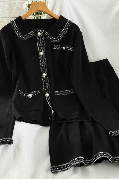 Fashion Girls Black Knit Pearl Button Up Contrast Trim Long Sleeve Peter Pan Collar Regular Cardigan Sweater & High Rise Short A-line Skirt Set