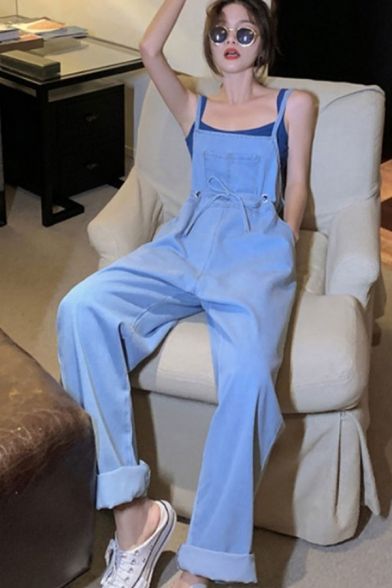 Leisure Girls Blue Bow Tied Waist Spaghetti Straps Long Sleeve Relaxed Straight Suspender Jeans