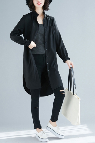 Leisure Womens Black Linen and Cotton Long Sleeve Stand Collar Button Up Curved Hem Long Loose Fit Shirt