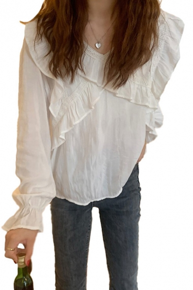 Leisure Womens Ruffled Trim Long Sleeve V-neck Loose Fit Plain Blouse Top