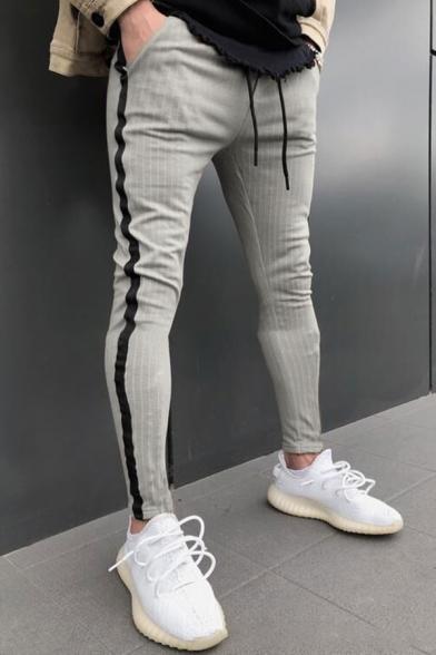 Mens Active Pinstripe Printed Drawstring Waist Side Stripe Skinny Fit Sport Pants