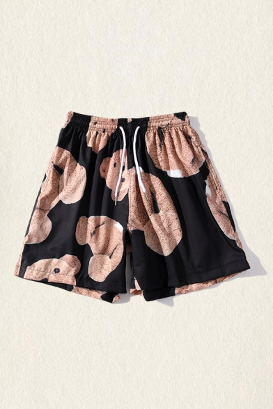 Mens Shorts Simple Behead Teddy Bear Printed Knee-Length Regular Fitted Drawstring Waist Relaxed Shorts