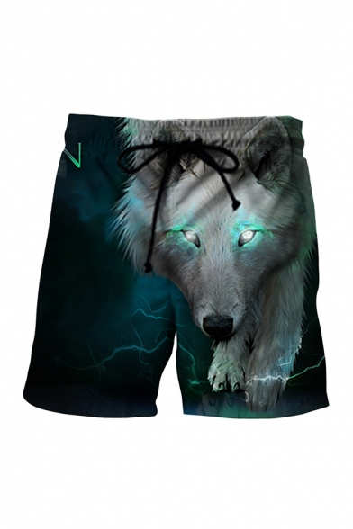 Novelty Mens 3D Shorts Contrasted Wolf Lightning Galaxy Moon Tree Printed Drawstring Waist Regular Fitted Relaxed Shorts