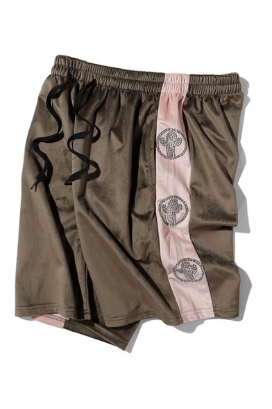 Novelty Mens Shorts Rhinestone Cactus Pattern Side Contrasted Stripe Knee-Length Drawstring Waist Regular Fitted Relaxed Shorts