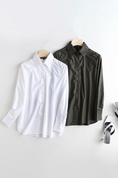 Simple Solid Color Long Sleeve Point Collar Button Up Relaxed Fit Shirt Top for Women