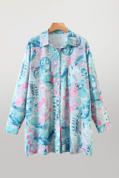 Unique Painting Printed Long Sleeve Spread Collar Button Up Chest Pocket Long Relaxed Fit Shirt Top in Blue
