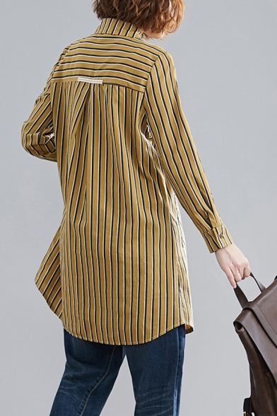 Womens Fashion Stripe Printed Long Sleeve Point Collar Button Up Patchwork Long Loose Fit Shirt Top