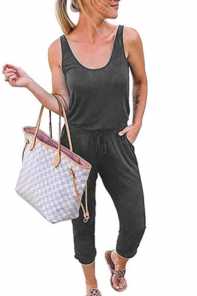Womens Jumpsuits Fashionable Solid Color Cuffed Drawstring Waist Sleeveless Scoop Neck Regular Fitted Capris Jumpsuits