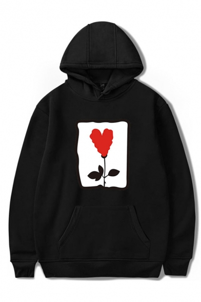 Basic Mens Hoodie Rose Heart Pattern Cuffed Drawstring Long Sleeve Relaxed Fitted Hoodie