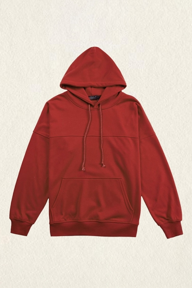 Casual Mens Hooded Sweatshirt Solid Color Drawstring Pocket Long Sleeve Relaxed Fitted Hooded Sweatshirt in Burgundy
