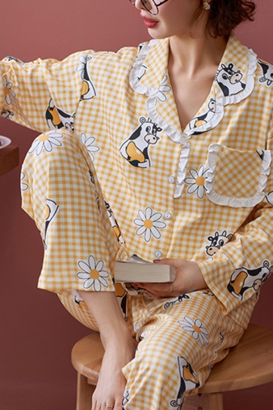 Fancy Cow Daisy Floral Allover Print Checkered Stringy Selvedge Shirt & Pants Pajamas Set in Yellow