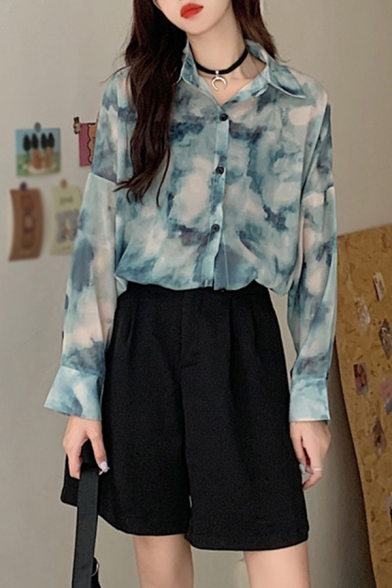 Green Cool Tie Dye Single Breasted Turn-down Collar Long Sleeve Relaxed Fit Tunic Shirt for Women