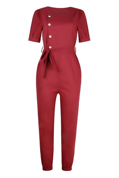 Ladies New Stylish Solid Color Ablique Button Bow Tie Side Square Neck Short Puff Sleeve Ankle Tapered Jumpsuits in Burgundy