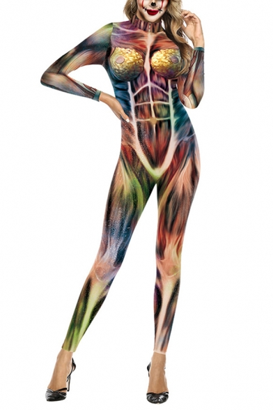 Novelty Womens 3D Jumpsuits Human Muscle Organ Pattern Slim Fitted Mock Neck Long Sleeve 7/8 Length Jumpsuits