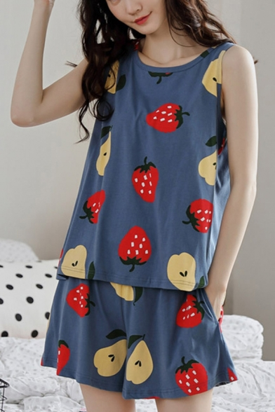 Pop Ladies All Over Fruit Print Crew Neck Sleeveless Loose Tank Top & Pocket Shorts Pajama Set in Blue