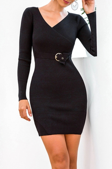 Popular Solid Color Belted Surplice Neck Long Sleeve Mini Bodycon Sweater Dress for Women