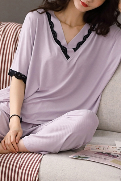 Simple Womens Lace Trim V Neck Half Sleeve Relaxed T-Shirt & Full Length Pants Pajama Set in Purple