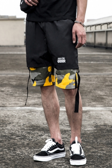 Sportswear Boys Camo Printed Patched Label Patched Drawstring Waist Straps Straight Shorts