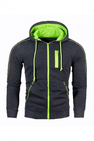 Stylish Men's Hoodie Plain Contrast Stitching Grommets Pocket Long Sleeves Ribbed Trim Full Zip Drawstring Slim Hoodie